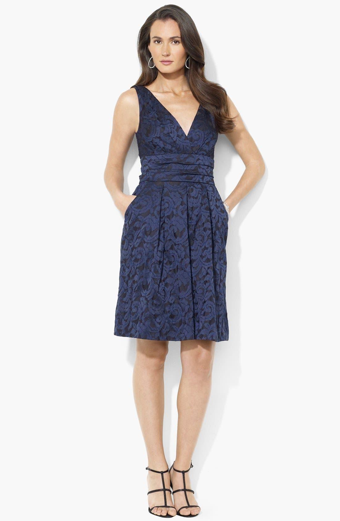 Main Image - Lauren Ralph Lauren Brocade Fit & Flare Dress