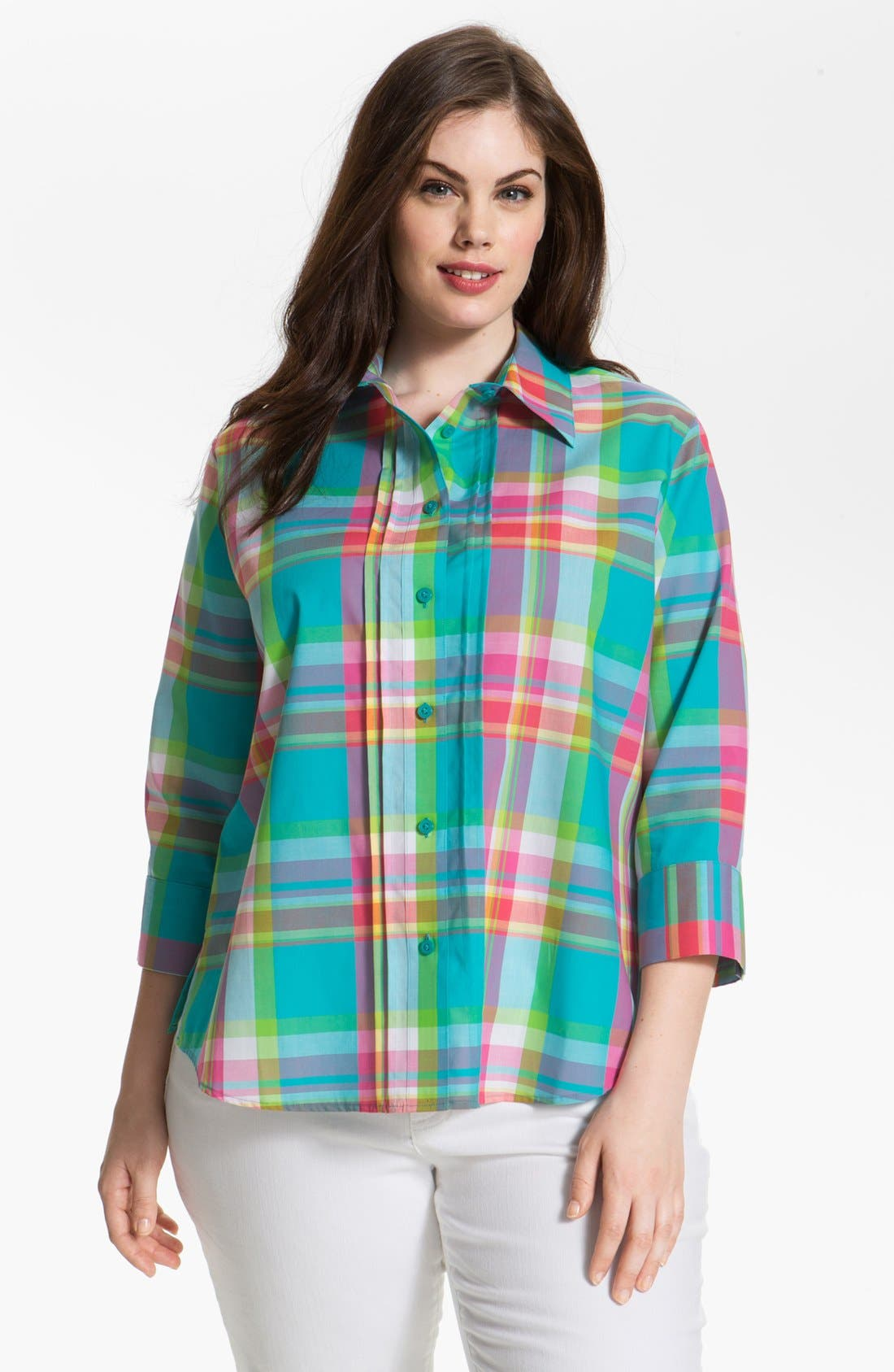 Alternate Image 1 Selected - Foxcroft Plaid Shaped Shirt (Plus Size)
