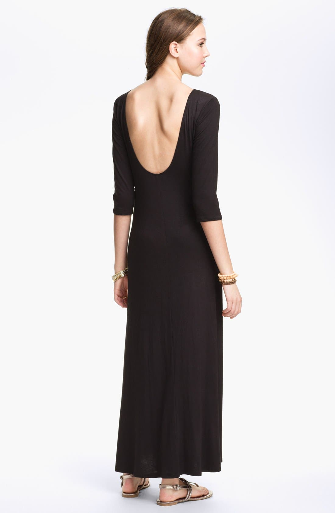 Alternate Image 2  - Hidden Heart U-Back Three Quarter Sleeve Maxi Dress (Juniors) (Online Only)