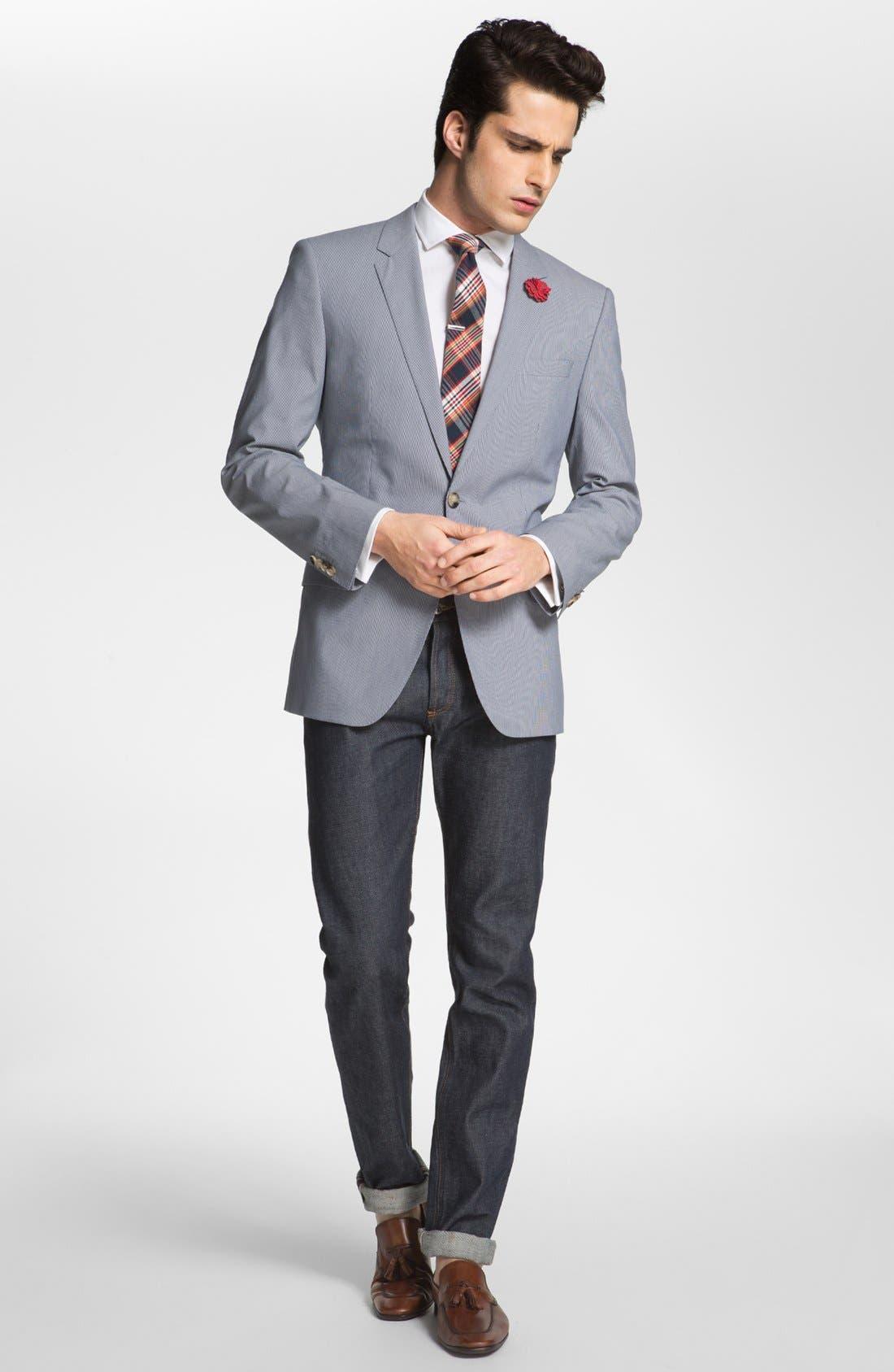 Alternate Image 6  - BOSS Black 'Huge/Genius' Trim Fit Cotton Blend Suit