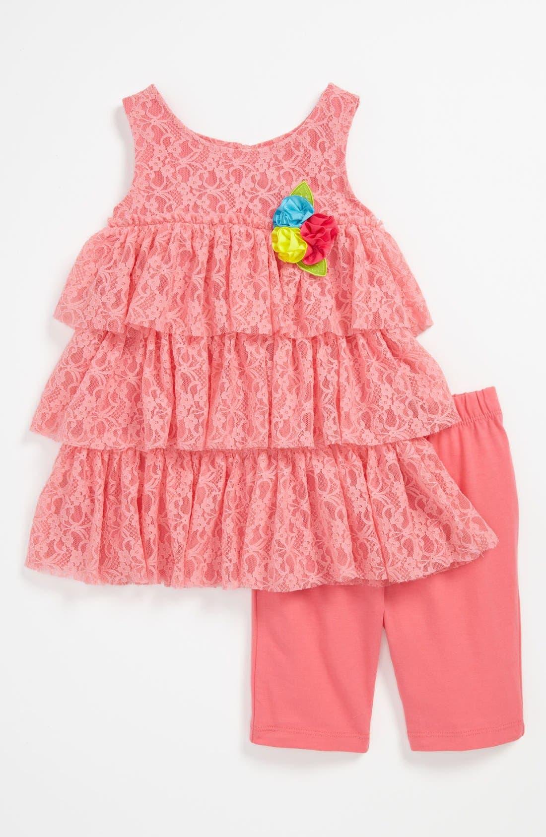 Alternate Image 1 Selected - Sweet Heart Rose Dress & Leggings (Baby)