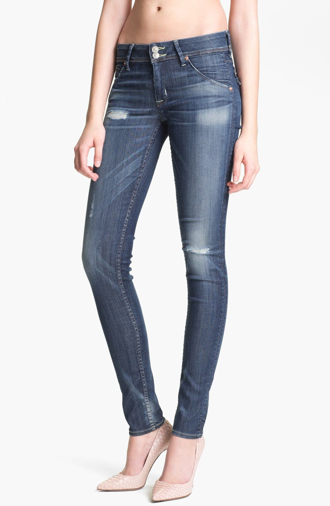 Alternate Image 1 Selected - Hudson Jeans 'Collin' Distressed Skinny Stretch Jeans (Youth Vintage)