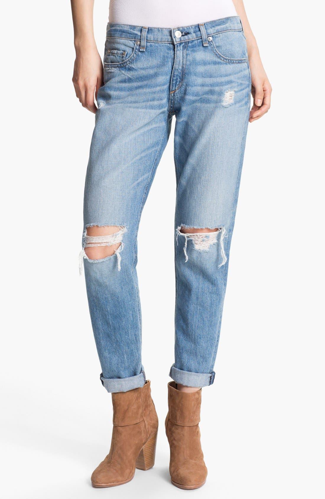 Main Image - rag & bone/JEAN Boyfriend Jeans (Moss)
