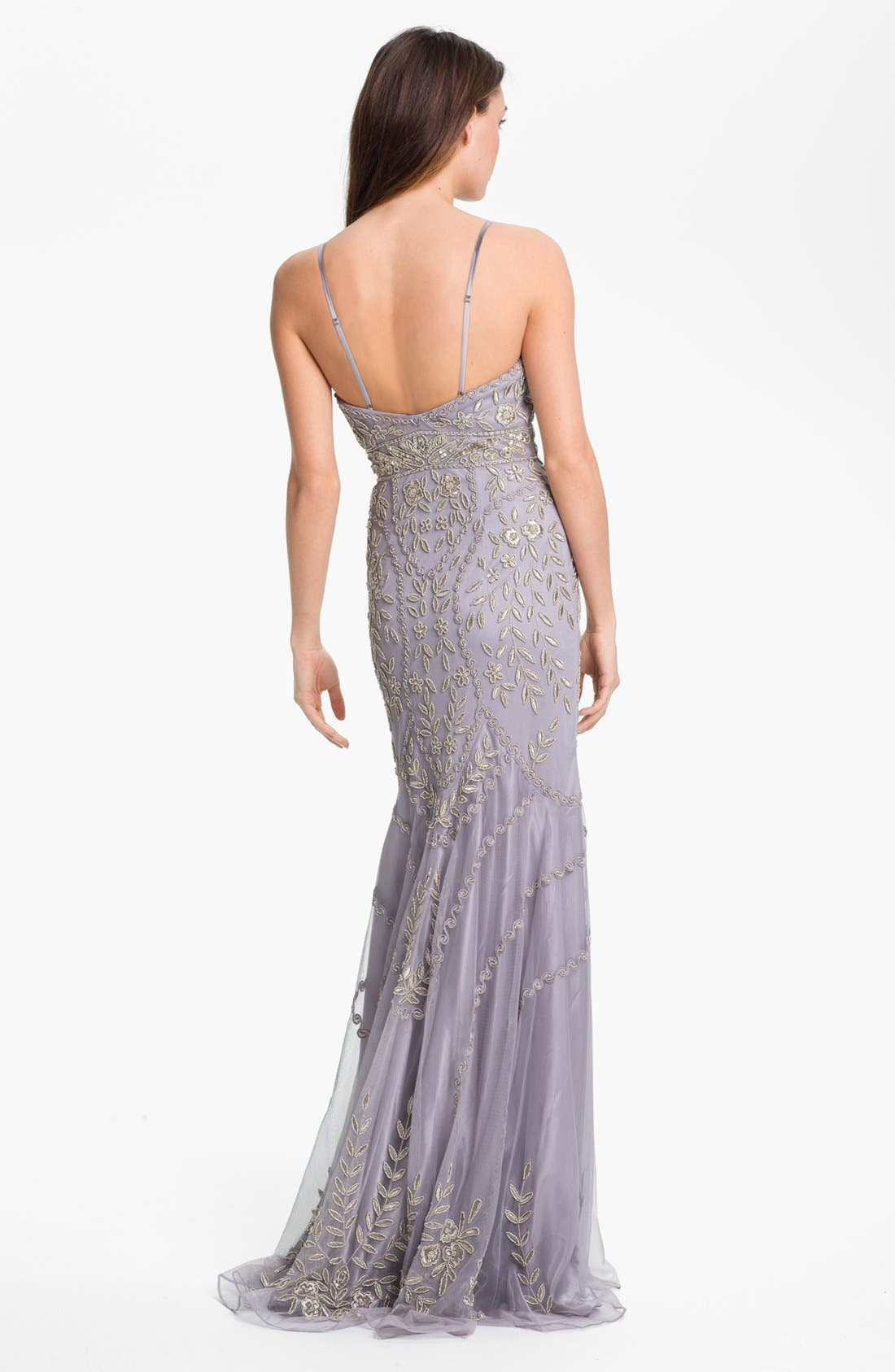 Alternate Image 2  - Sue Wong Embellished V-Neck Mesh Gown