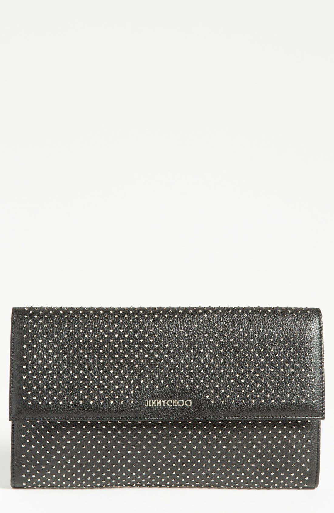 Alternate Image 1 Selected - Jimmy Choo 'Reese - XL' Studded Leather Clutch