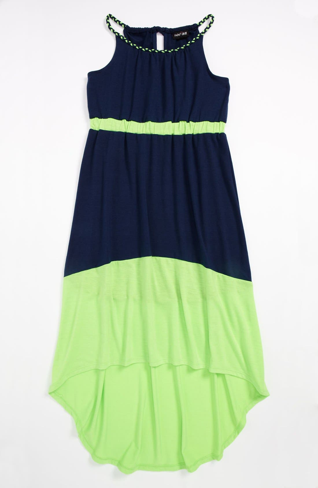 Alternate Image 1 Selected - Paper Doll Colorblock Maxi Dress (Little Girls & Big Girls)