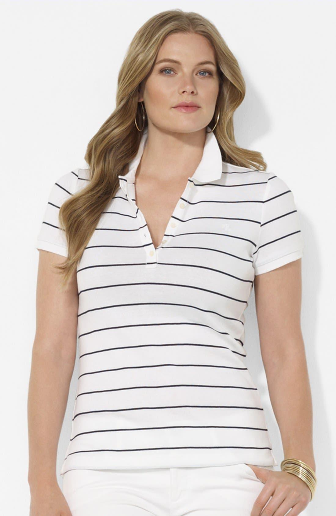 Alternate Image 1 Selected - Lauren Ralph Lauren Stripe Polo (Plus)