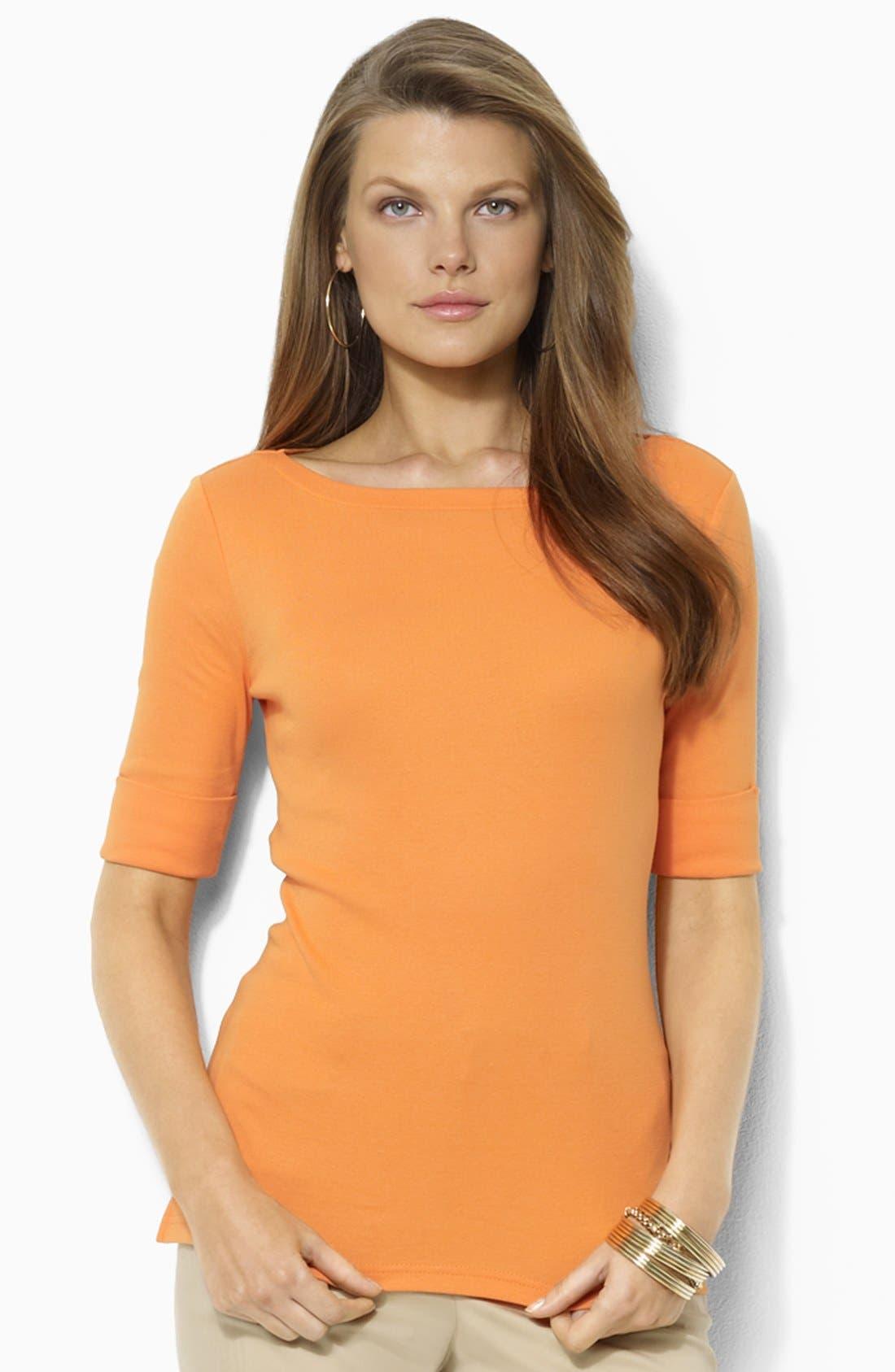 Alternate Image 1 Selected - Lauren Ralph Lauren Bateau Neck Elbow Sleeve Top