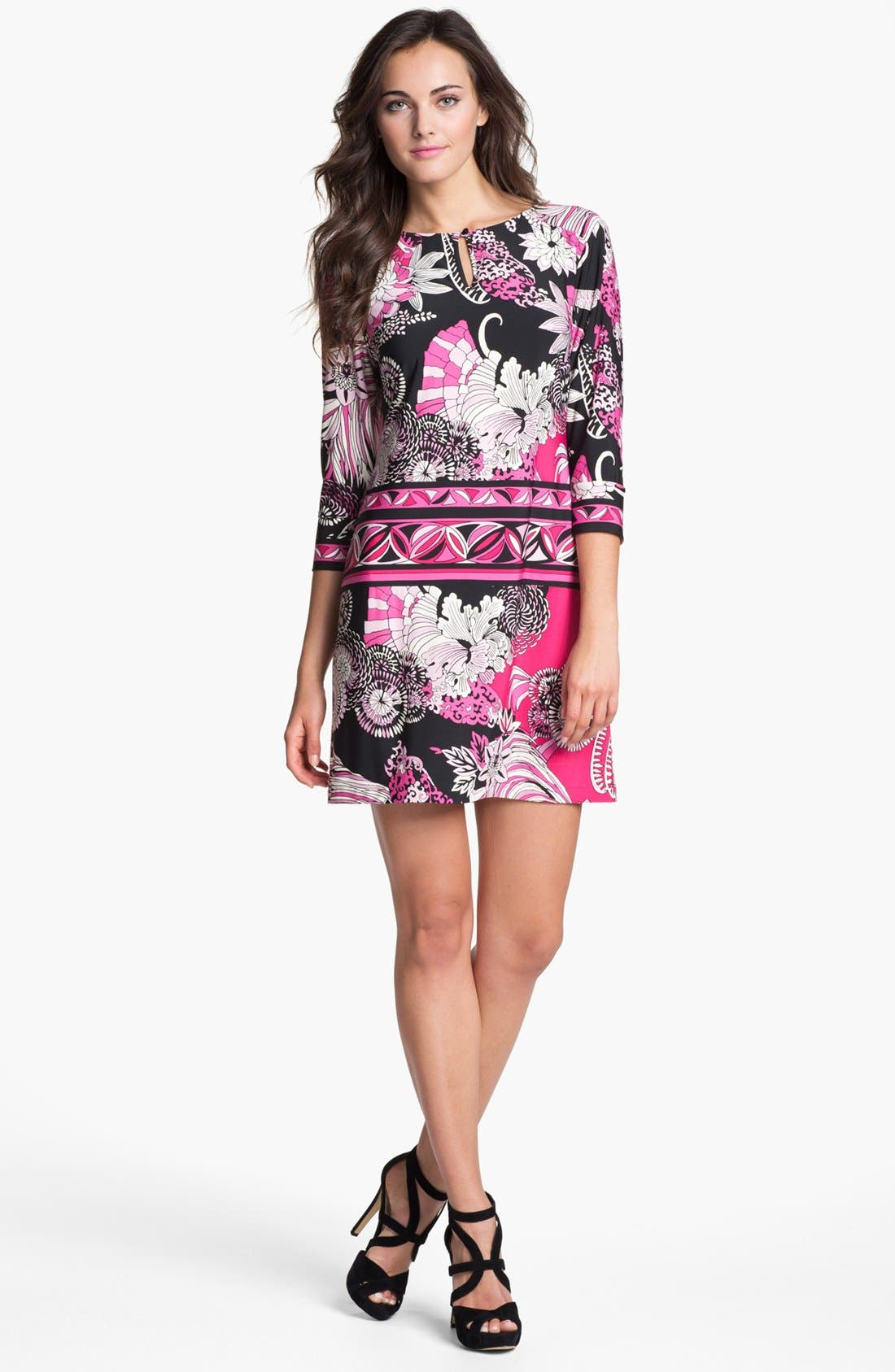 Main Image - Donna Morgan 'Julie' Print Matte Jersey Shift Dress