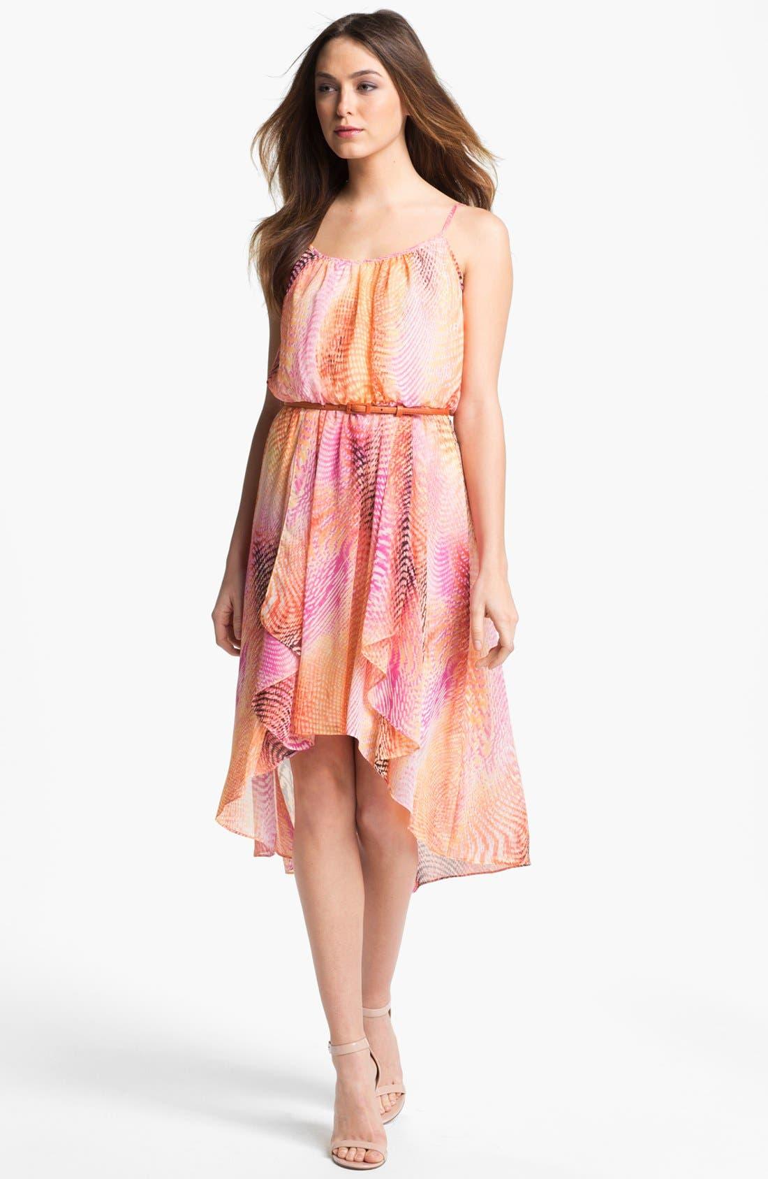 Alternate Image 1 Selected - Maggy London Print High/Low Chiffon Dress