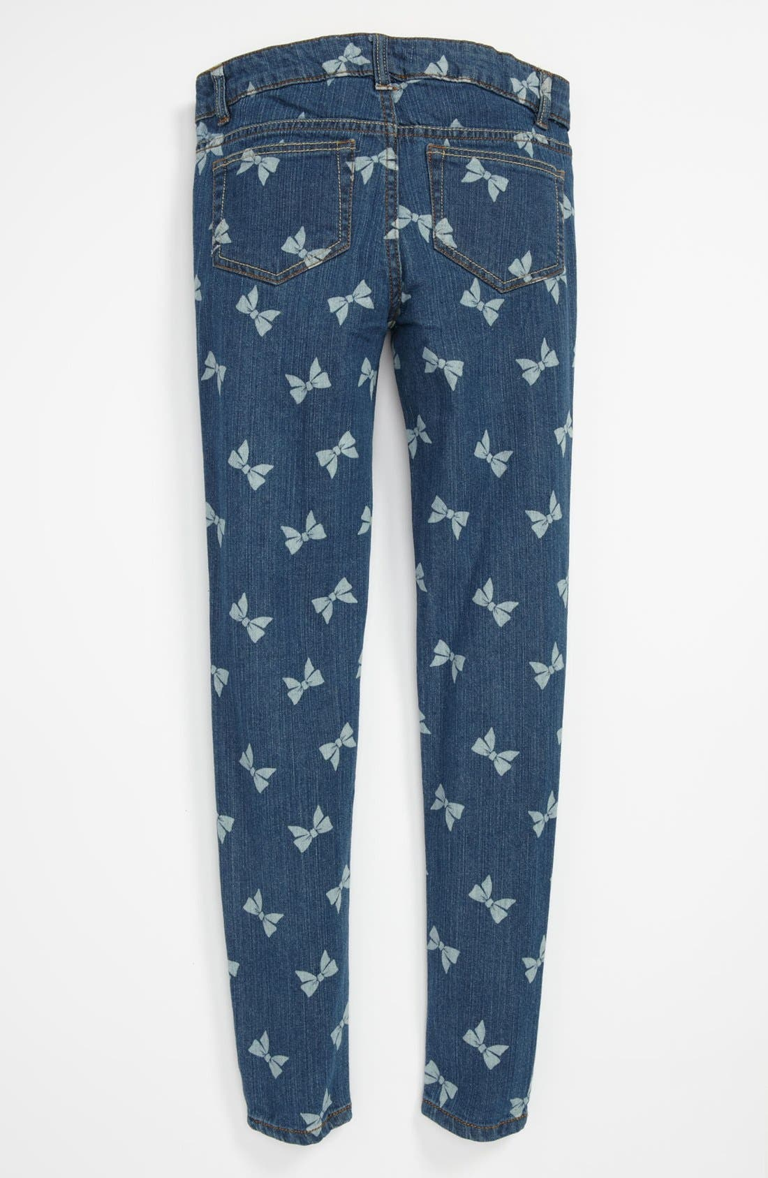 Alternate Image 1 Selected - Fire Bow Print Skinny Jeans (Big Girls)