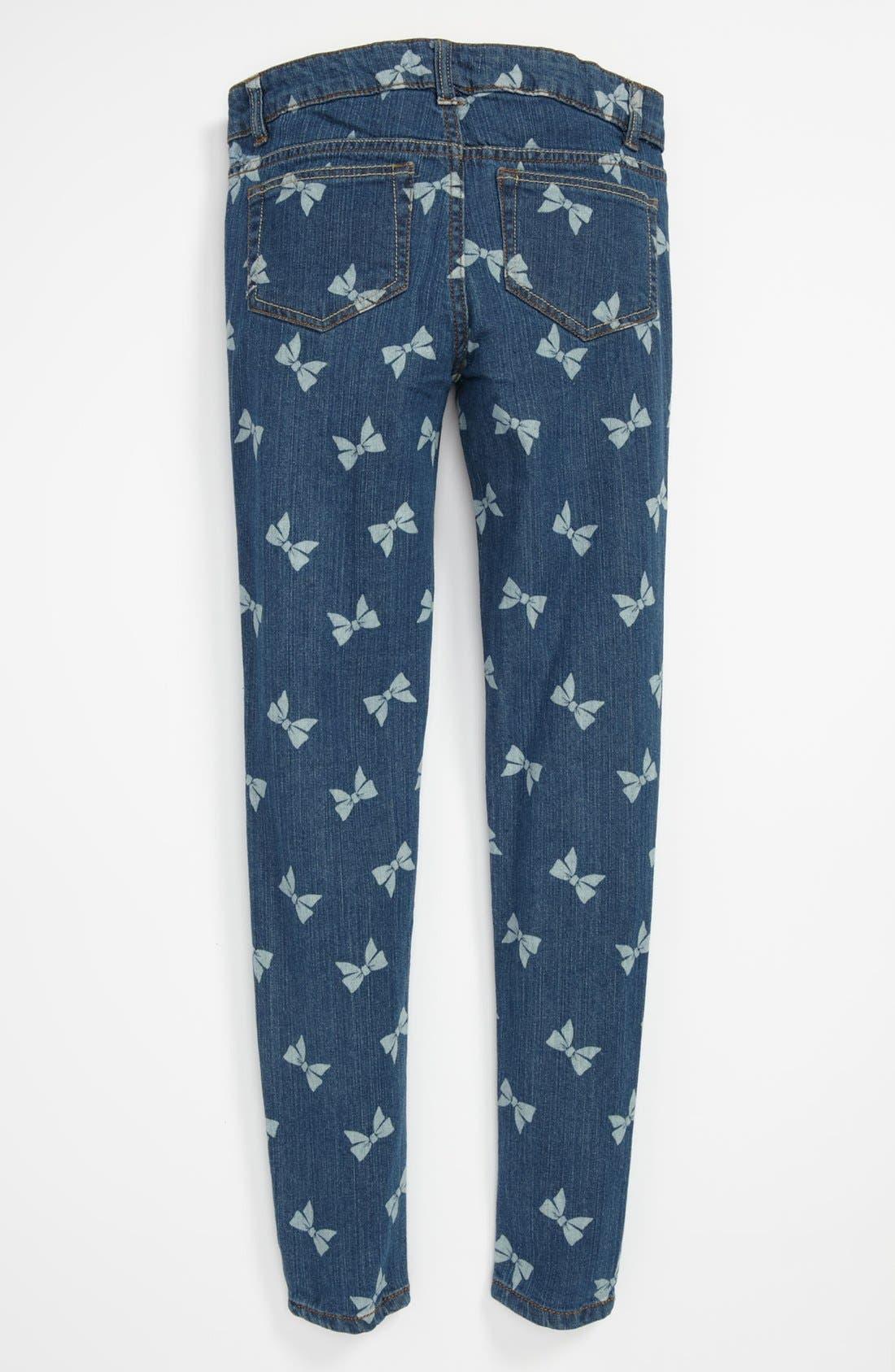 Main Image - Fire Bow Print Skinny Jeans (Big Girls)