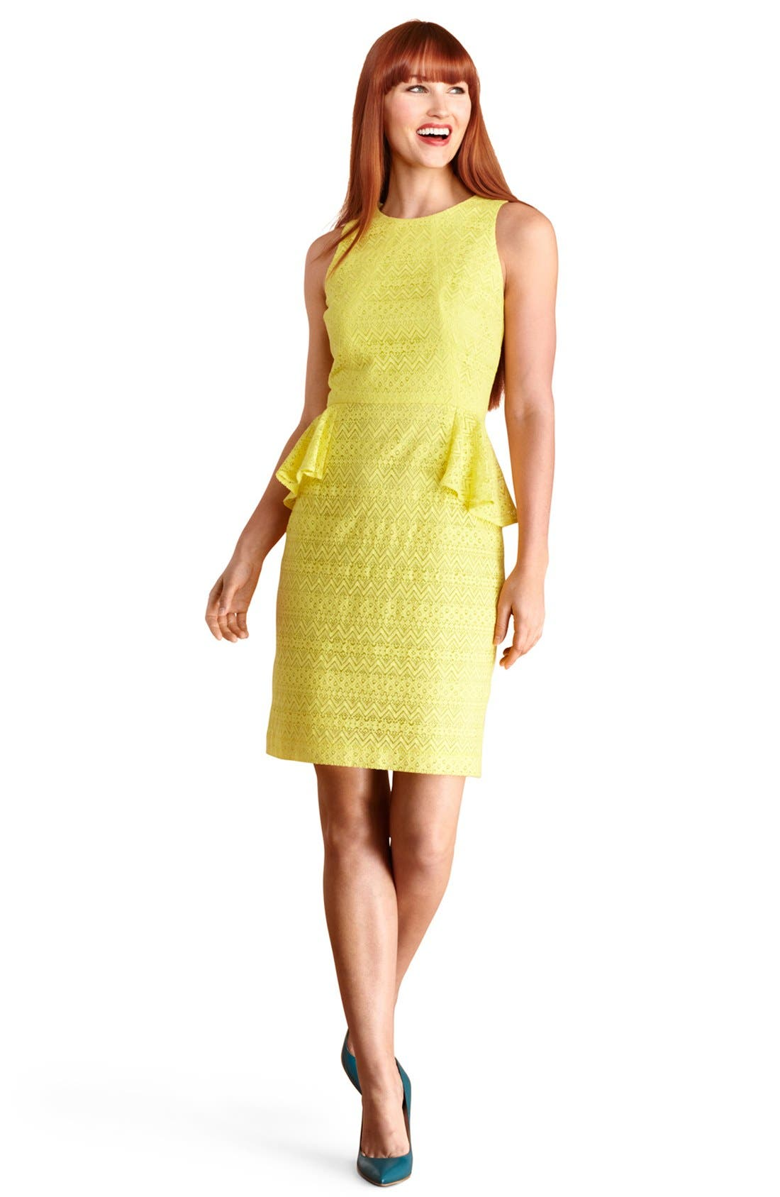 Main Image - Donna Morgan Lace Peplum Sheath Dress