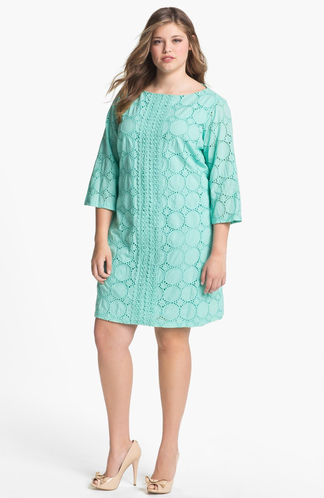 Main Image - London Times Eyelet Shift Dress (Plus Size)