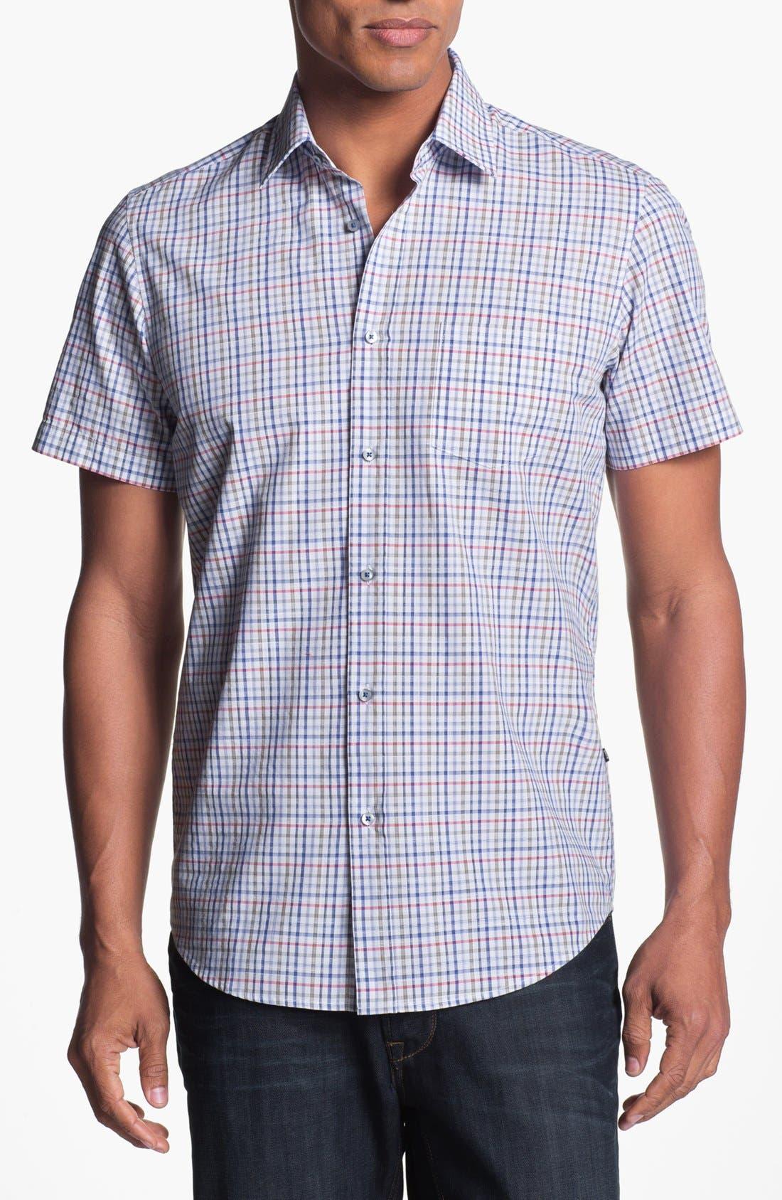 Alternate Image 1 Selected - BOSS HUGO BOSS 'Kenny' Regular Fit Plaid Short Sleeve Sport Shirt