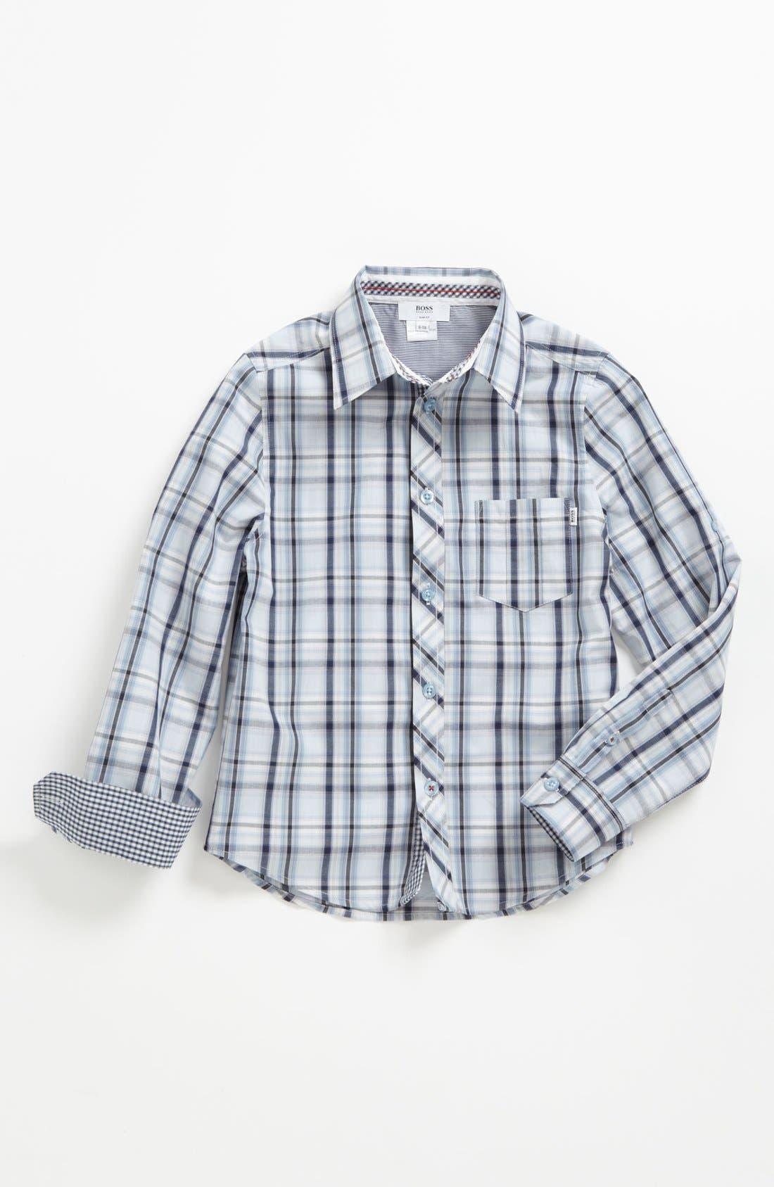 Alternate Image 1 Selected - BOSS Kidswear Check Woven Shirt (Little Boys & Big Boys)