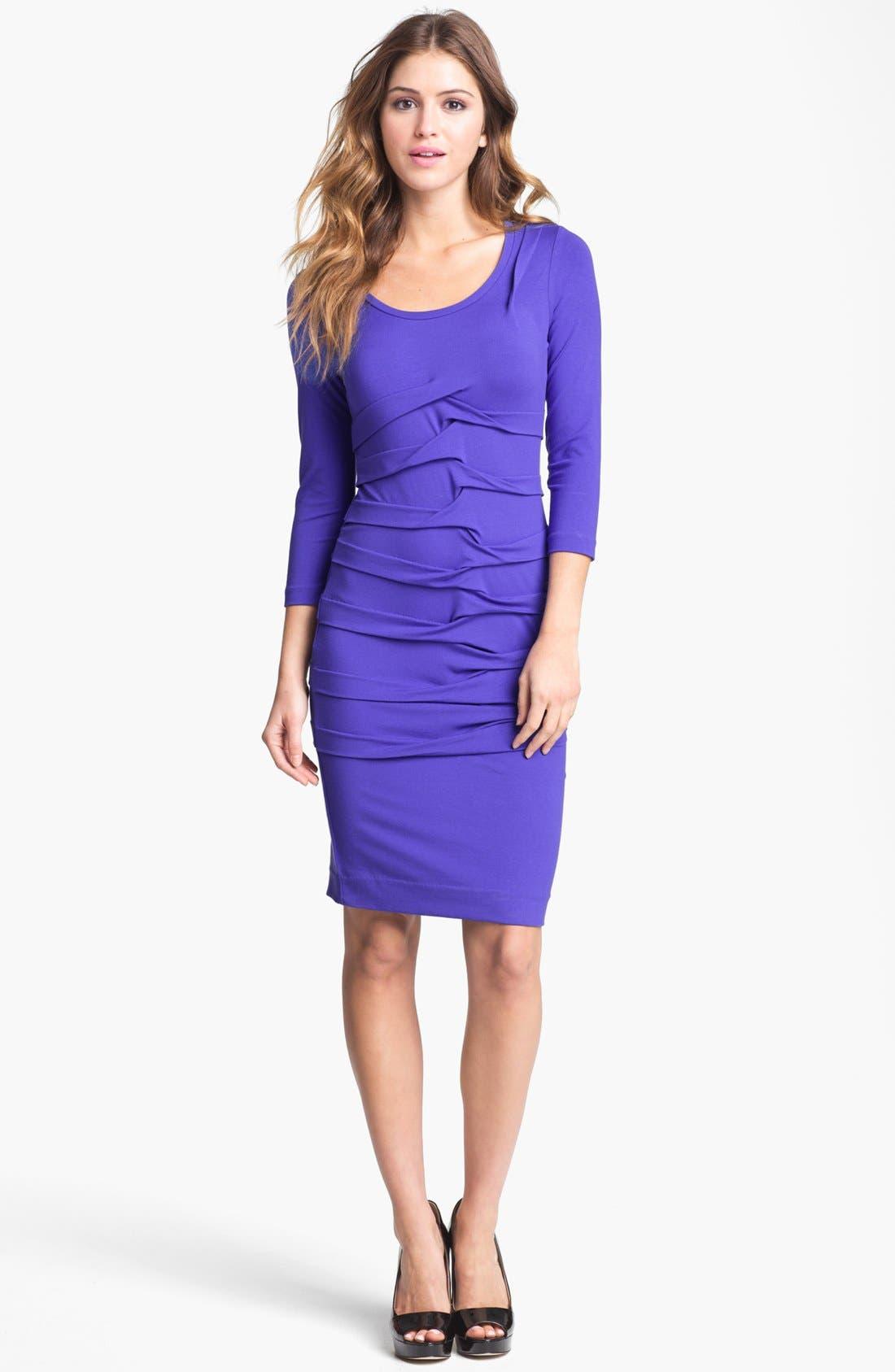 Alternate Image 1 Selected - Nicole Miller Long Sleeve Pleated Jersey Dress