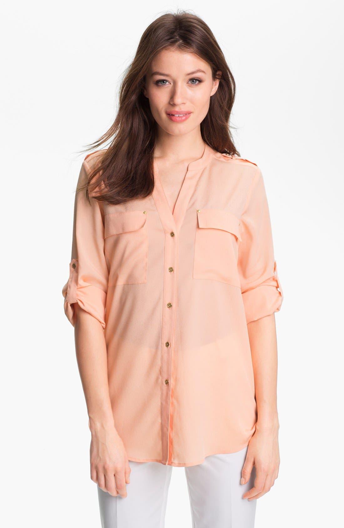 Main Image - Calvin Klein Roll Sleeve Blouse