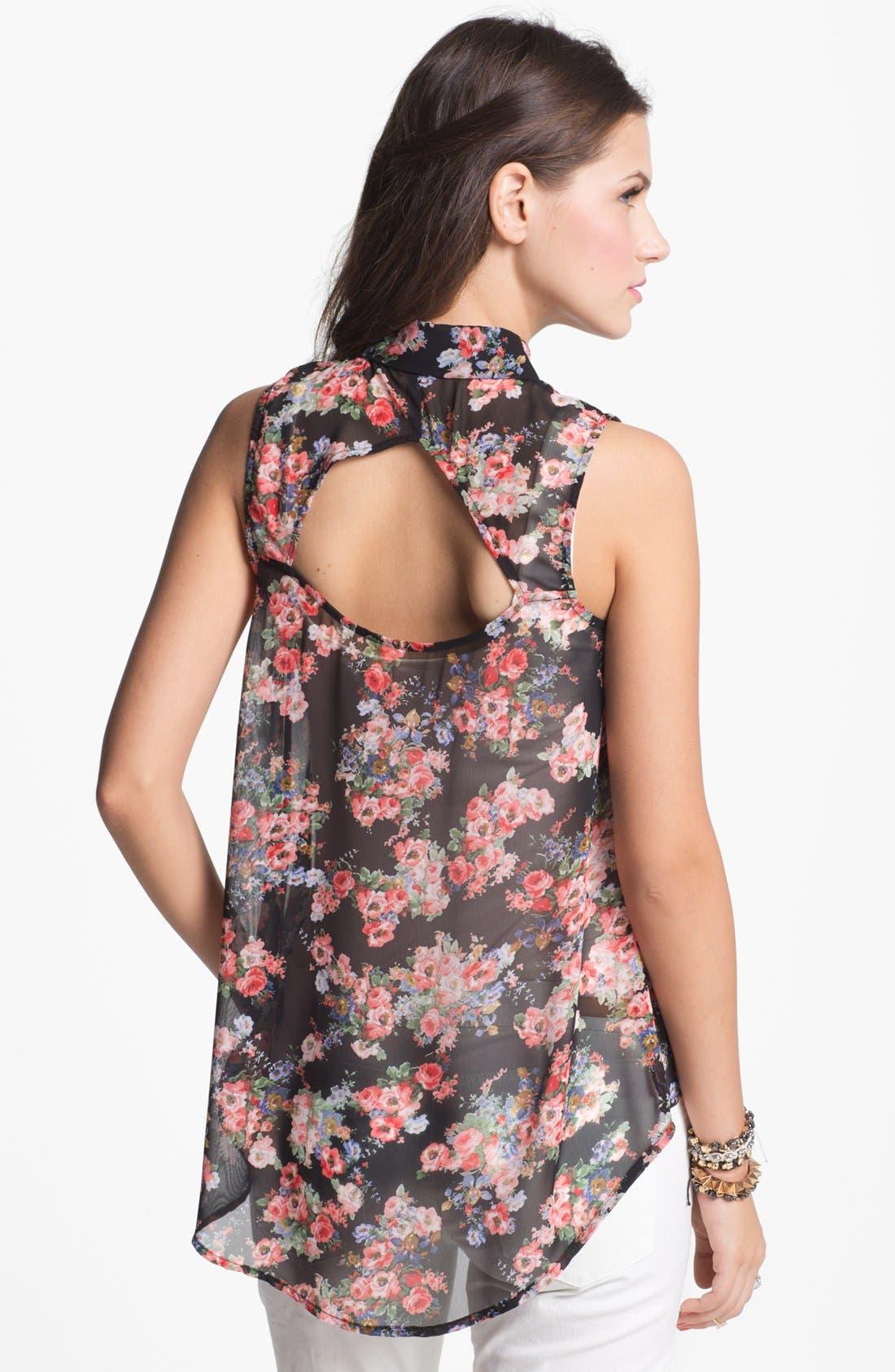 Alternate Image 2  - Elodie Stud Collar Cutout Chiffon Shirt (Juniors)