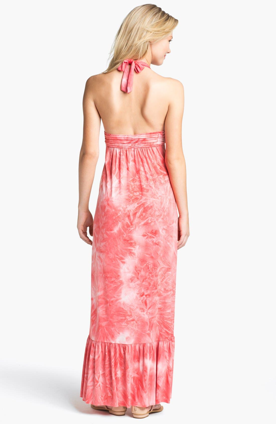 Alternate Image 2  - Tbags Los Angeles Tie Dye Halter Maxi Dress