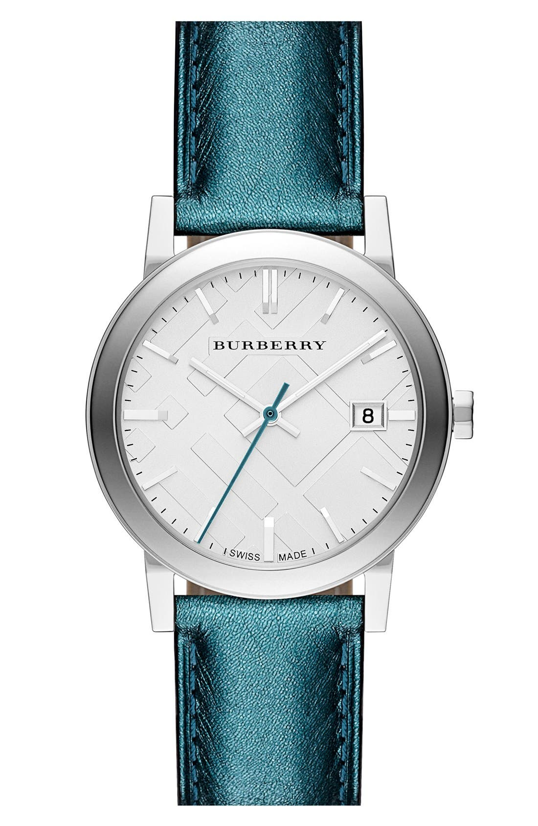 Main Image - Burberry Round Metallic Leather Strap Watch, 34mm
