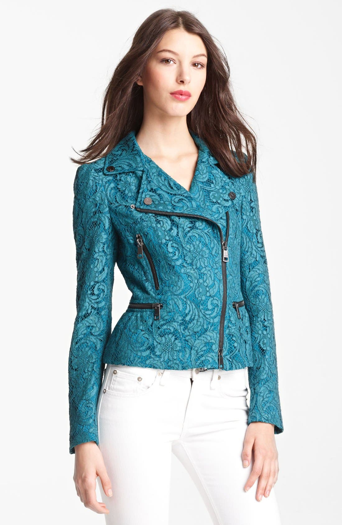 Alternate Image 1 Selected - Burberry London Lace Moto Jacket