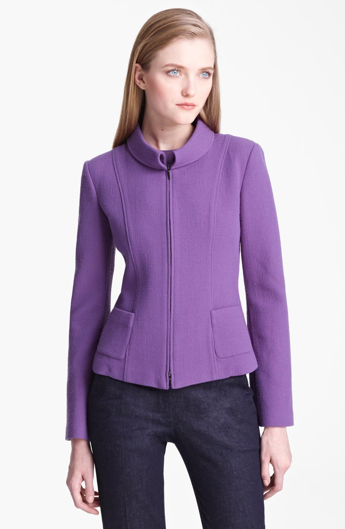Alternate Image 1 Selected - Armani Collezioni Rolled Collar Crepe Jacket
