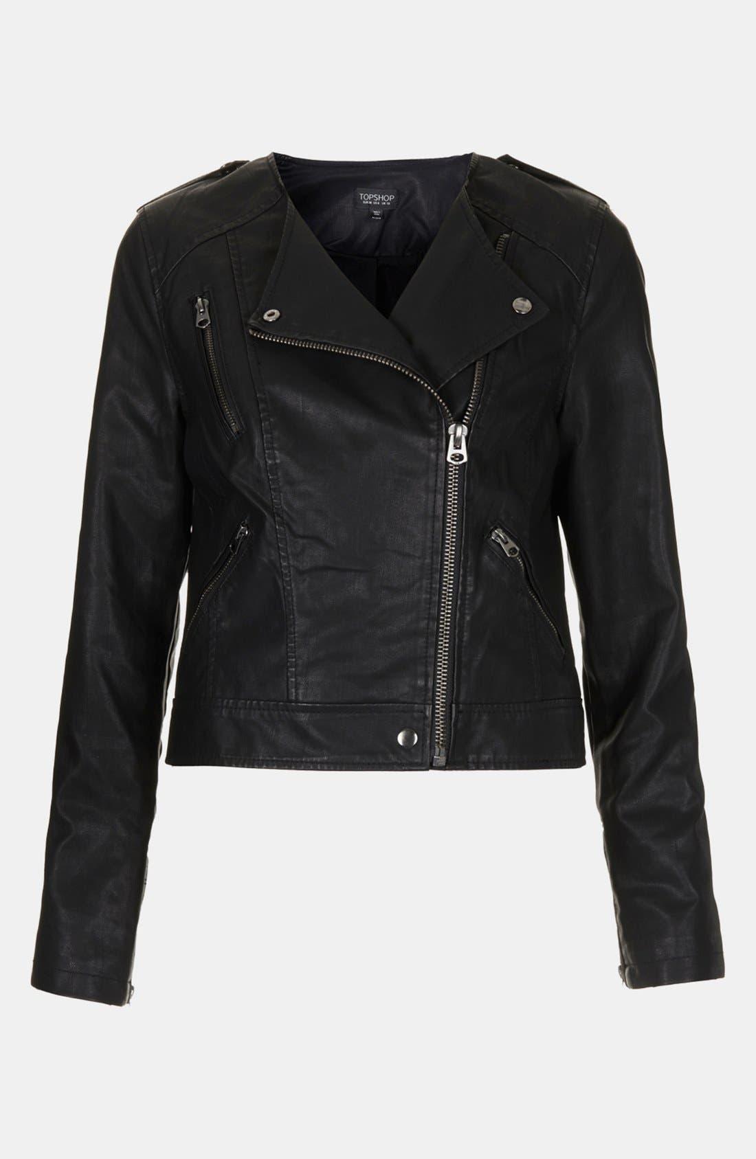 Alternate Image 3  - Topshop 'Mirabelle' Faux Leather Biker Jacket