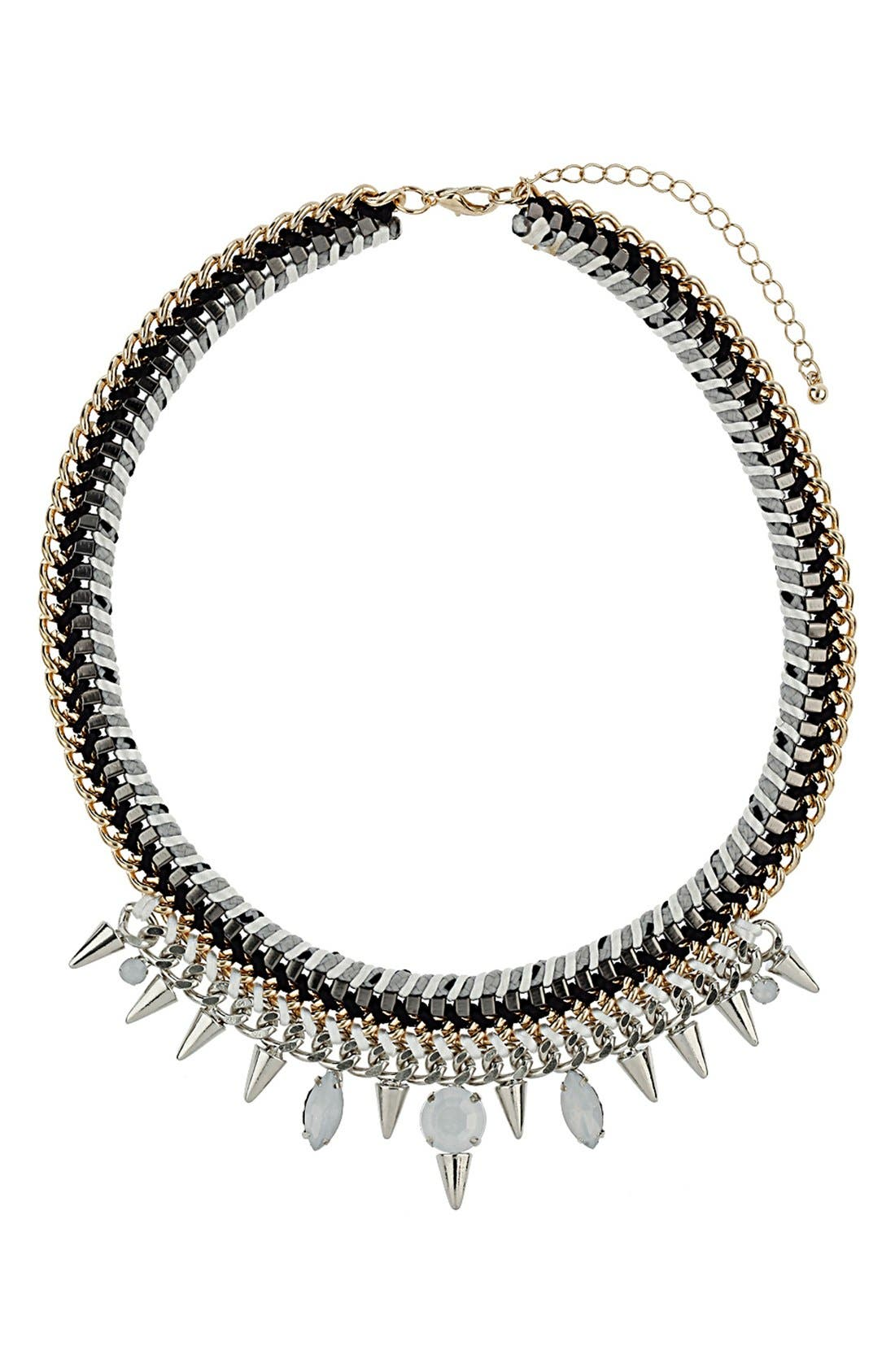 Alternate Image 1 Selected - Topshop 'Cord & Stone' Collar Necklace