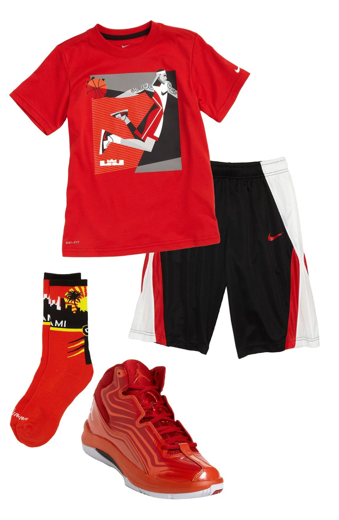 Main Image - Nike T-Shirt, Shorts & Sneaker & G 206 Wear Socks (Big Boys)