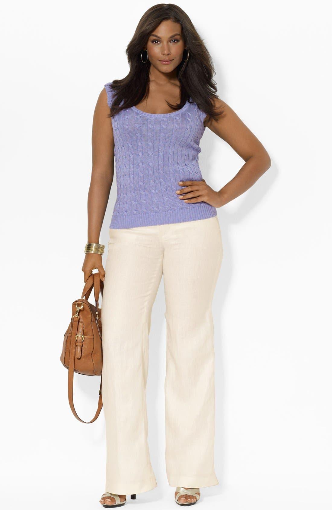 Alternate Image 3  - Lauren Ralph Lauren Wide Leg Linen Pants (Plus Size)