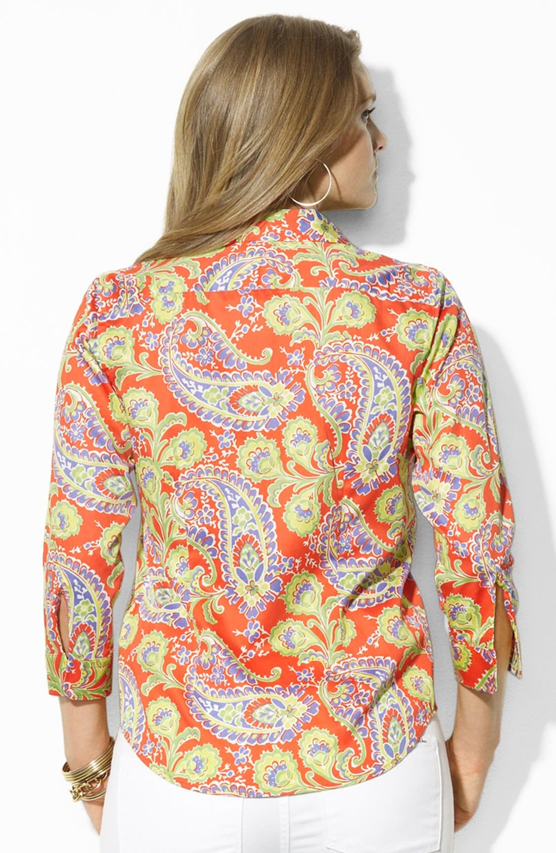 Alternate Image 2  - Lauren Ralph Lauren Paisley Print Cotton Shirt (Plus Size)