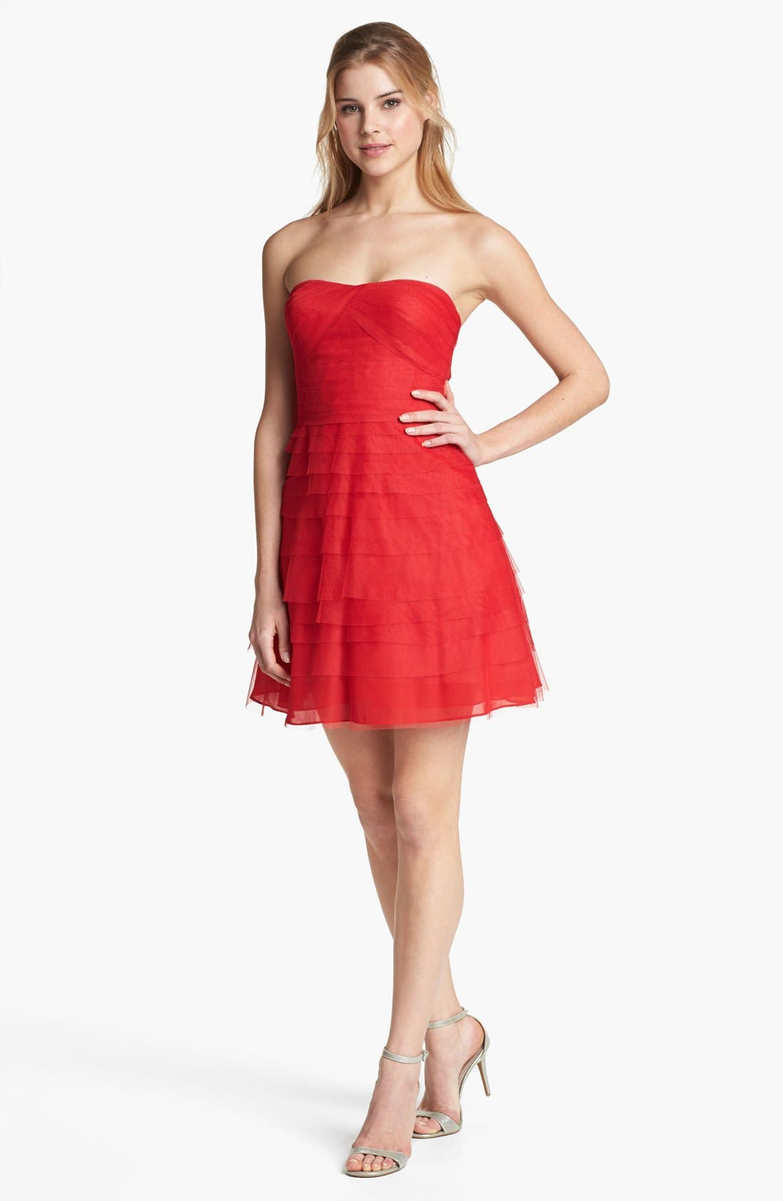 Alternate Image 1 Selected - Adrianna Papell Tiered Mesh Fit & Flare Dress