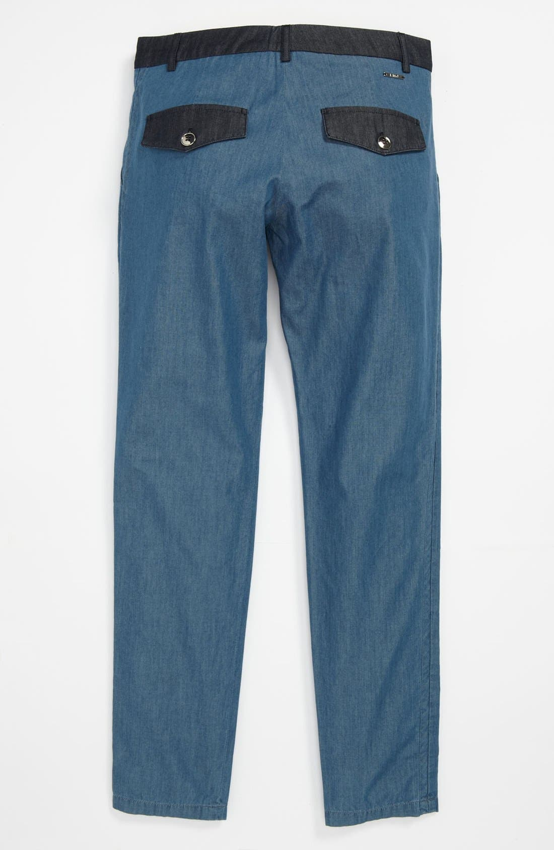 Alternate Image 1 Selected - LITTLE MARC JACOBS Chambray Pants (Big Girls)