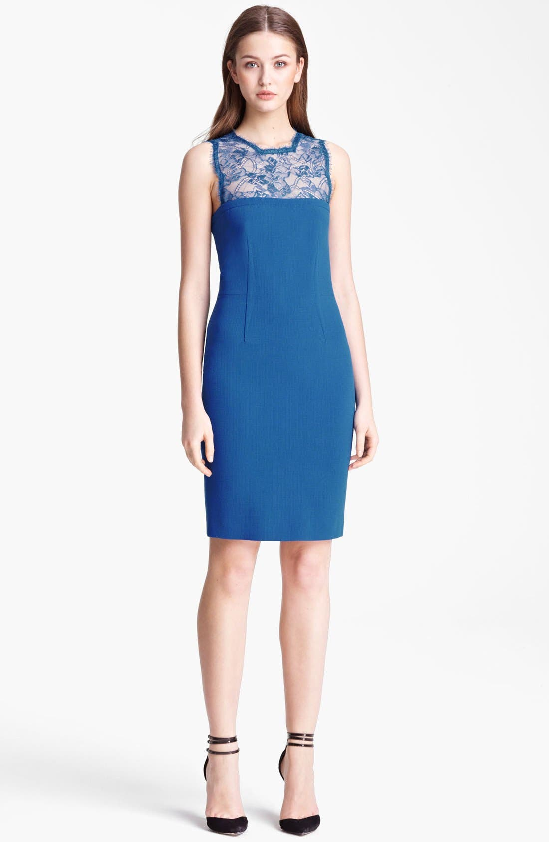 Alternate Image 1 Selected - Emilio Pucci Lace Bodice Stretch Wool Dress