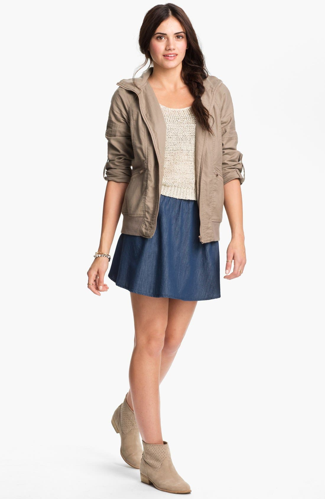 Alternate Image 3  - Lily White Chambray Skater Skirt (Juniors)