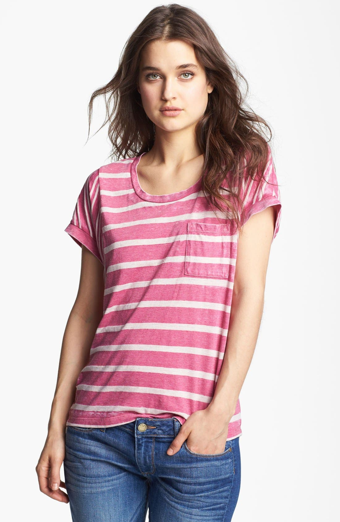 Alternate Image 1 Selected - Splendid Shadow Stripe Dolman Tee