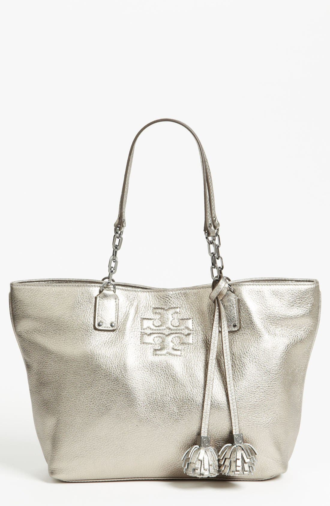 Main Image - Tory Burch 'Thea Metallic - Small' Leather Tote
