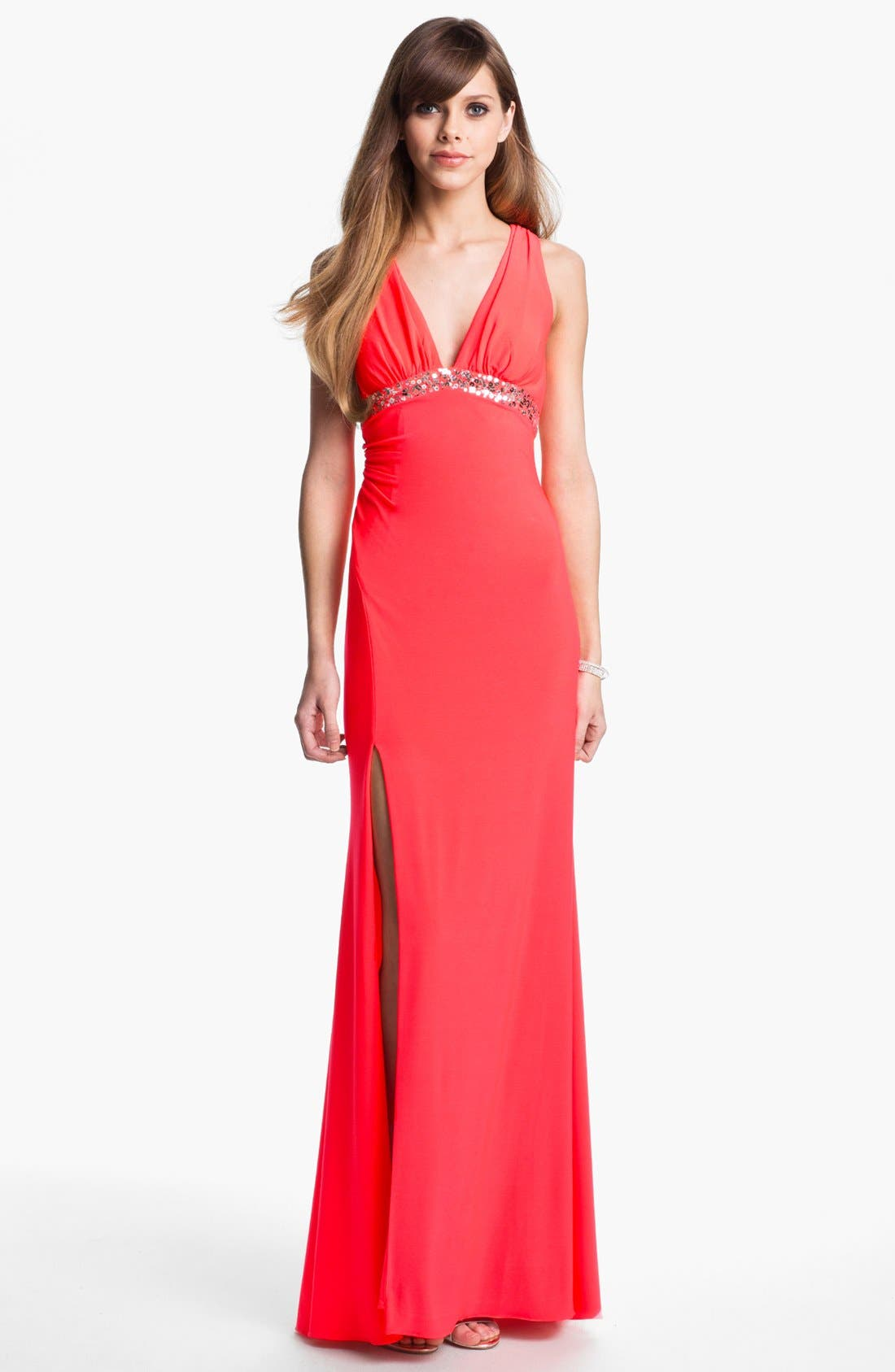Alternate Image 1 Selected - Test 1.26.16 - Hailey Logan Embellished Cutout Gown (Juniors) (Online Only)test. Test PICS2.0