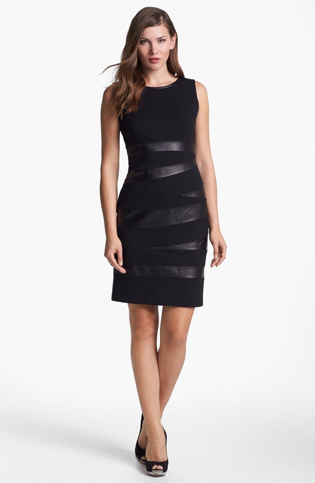 Main Image - Lafayette 148 New York Leather Trim Punto Milano Dress