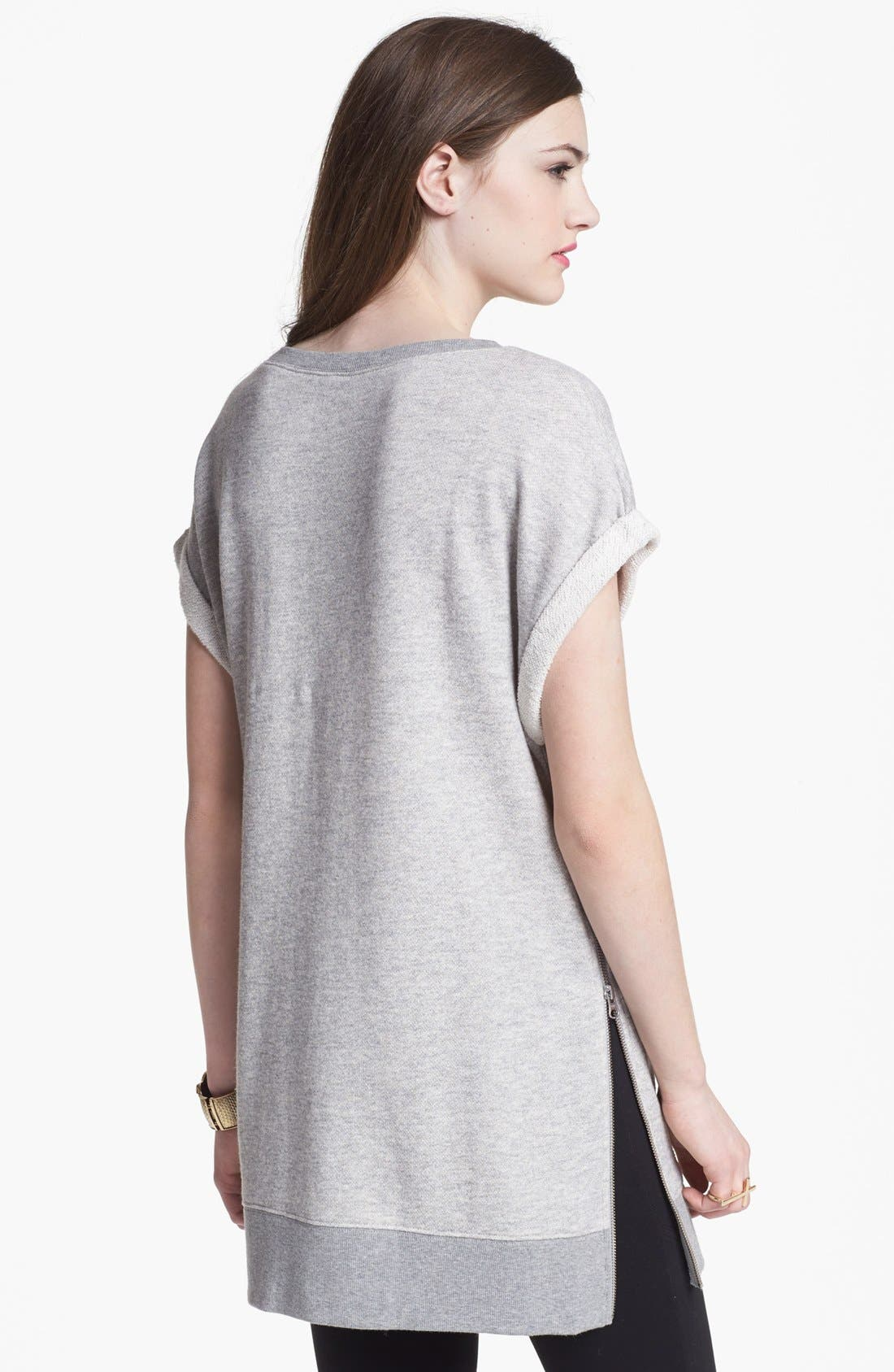 Alternate Image 2  - BP. Roll Sleeve Side Zip Long Sweatshirt (Juniors)