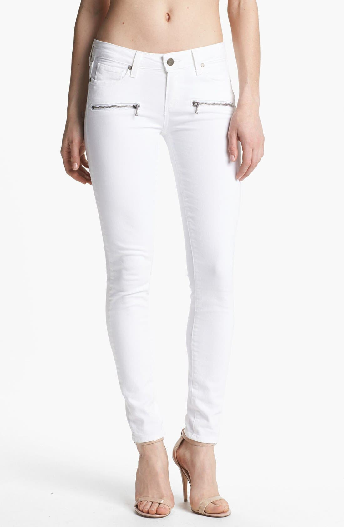 Alternate Image 1 Selected - Paige Denim 'Indio Zip' Ultra Skinny Stretch Jeans (Optic White)