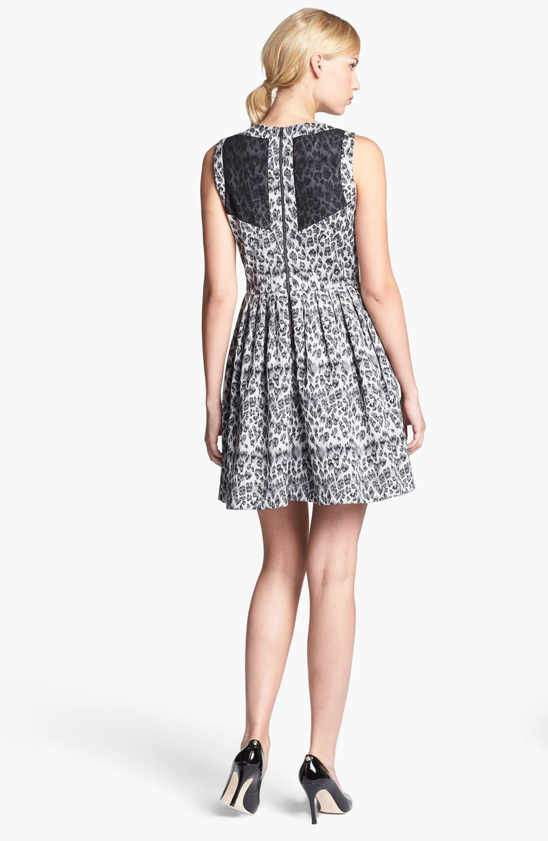 Alternate Image 3  - Taylor Dresses Sleeveless Jacquard Fit & Flare Dress (Regular & Petite)