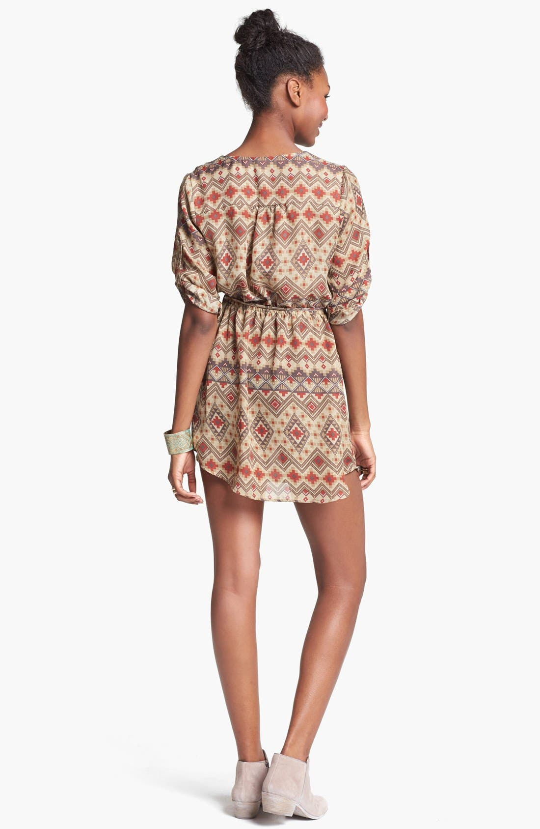 Alternate Image 2  - Mimi Chica Print Shirtdress (Juniors) (Online Only)