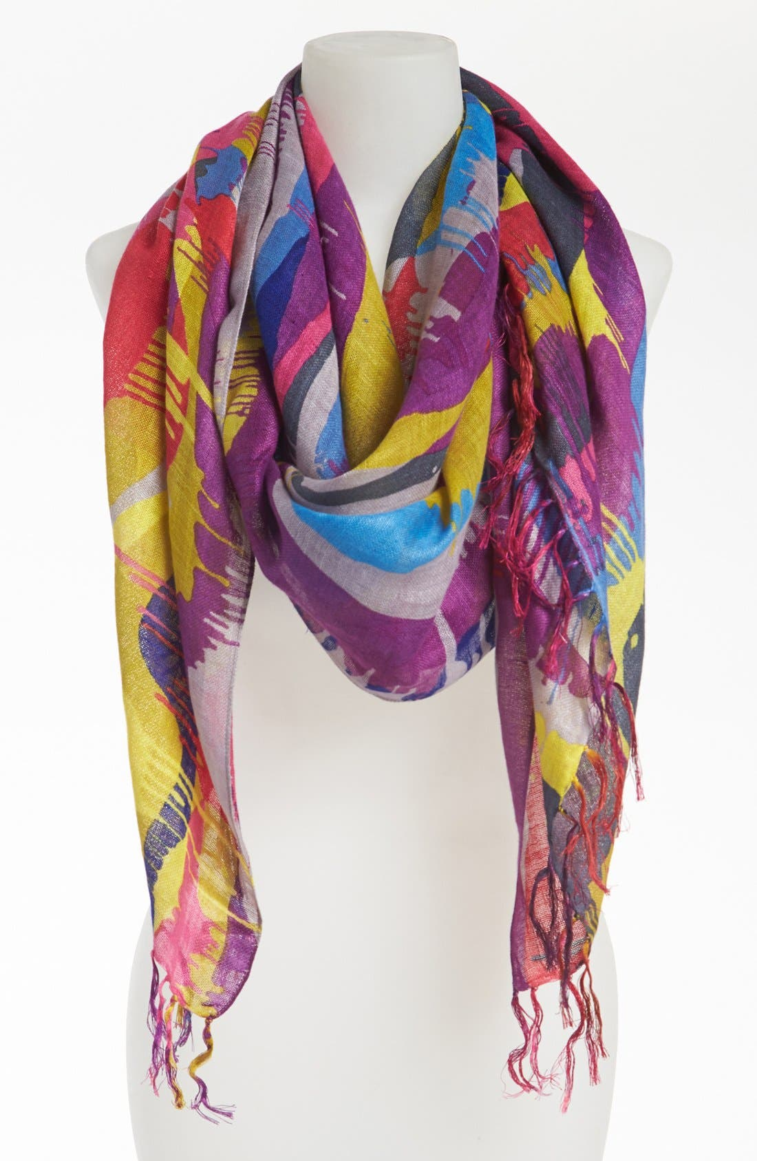 Main Image - Nordstrom 'Running Paint' Linen Blend Scarf