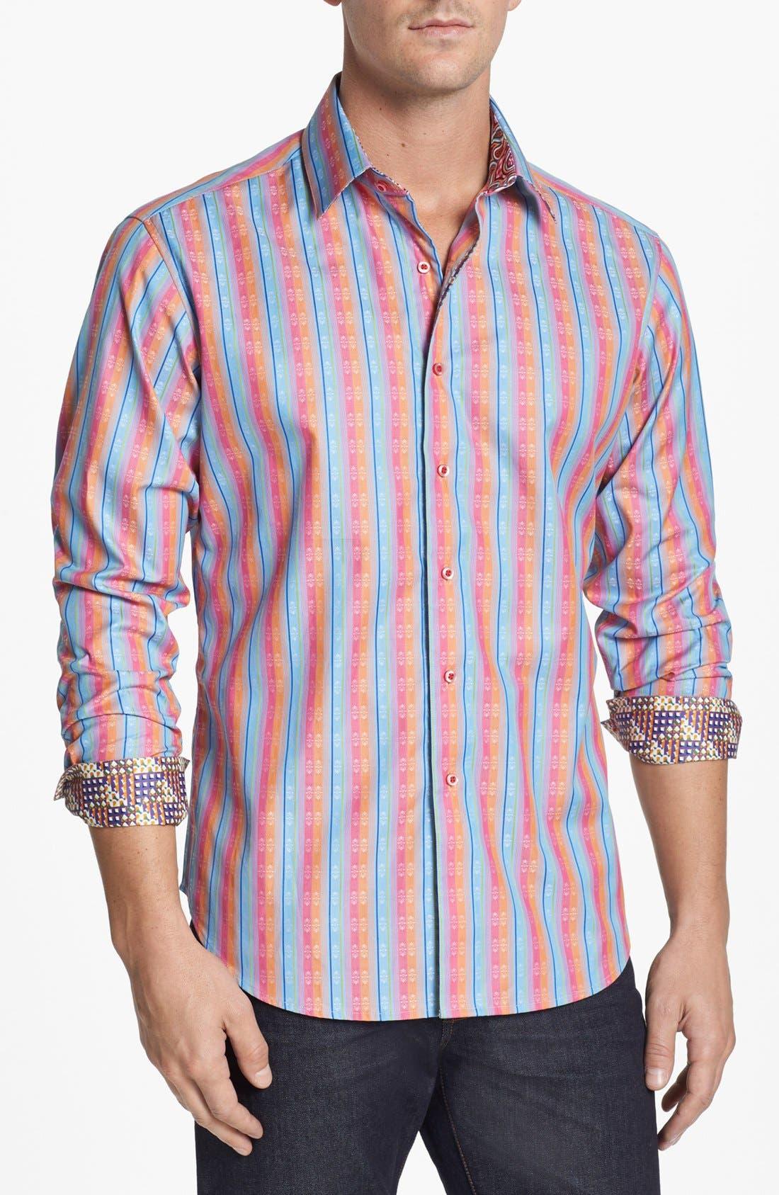 Alternate Image 1 Selected - Robert Graham 'Panama Stripe' Regular Fit Sport Shirt