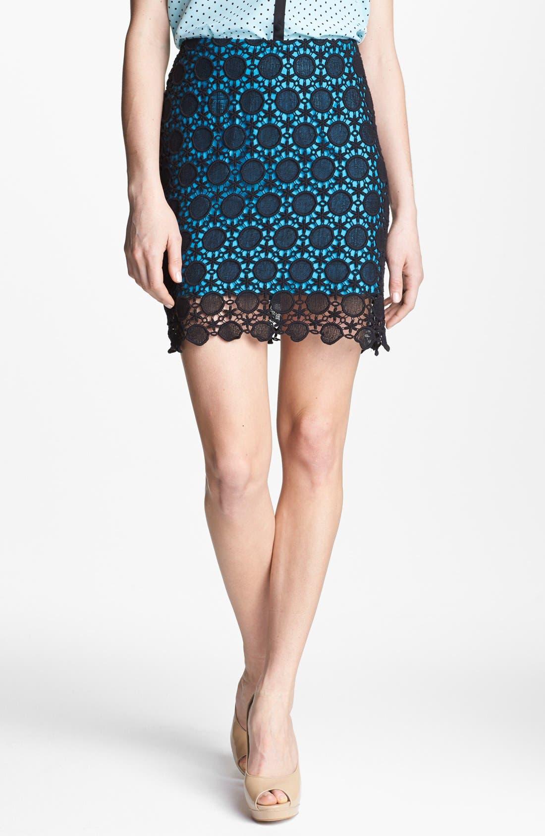 Main Image - Kensie Contrast Lace Skirt