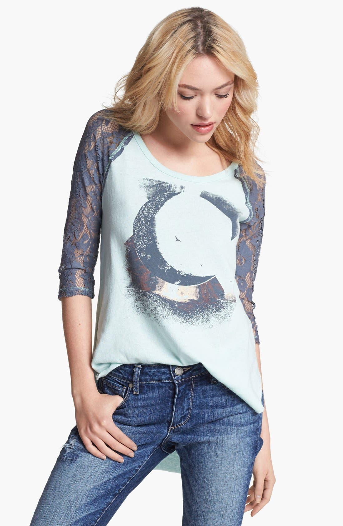 Alternate Image 1 Selected - Free People Graphic Lace Sleeve Tee