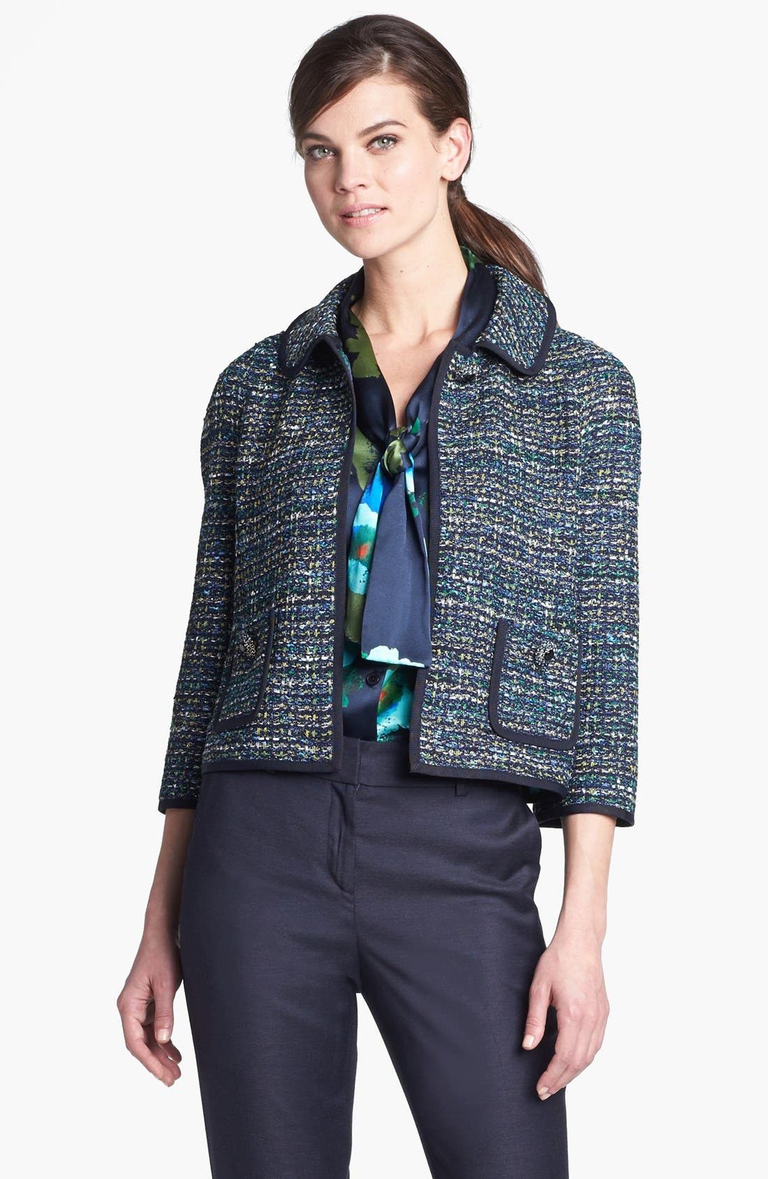 Main Image - St. John Collection Grosgrain Trim Ribbon Tweed Jacket