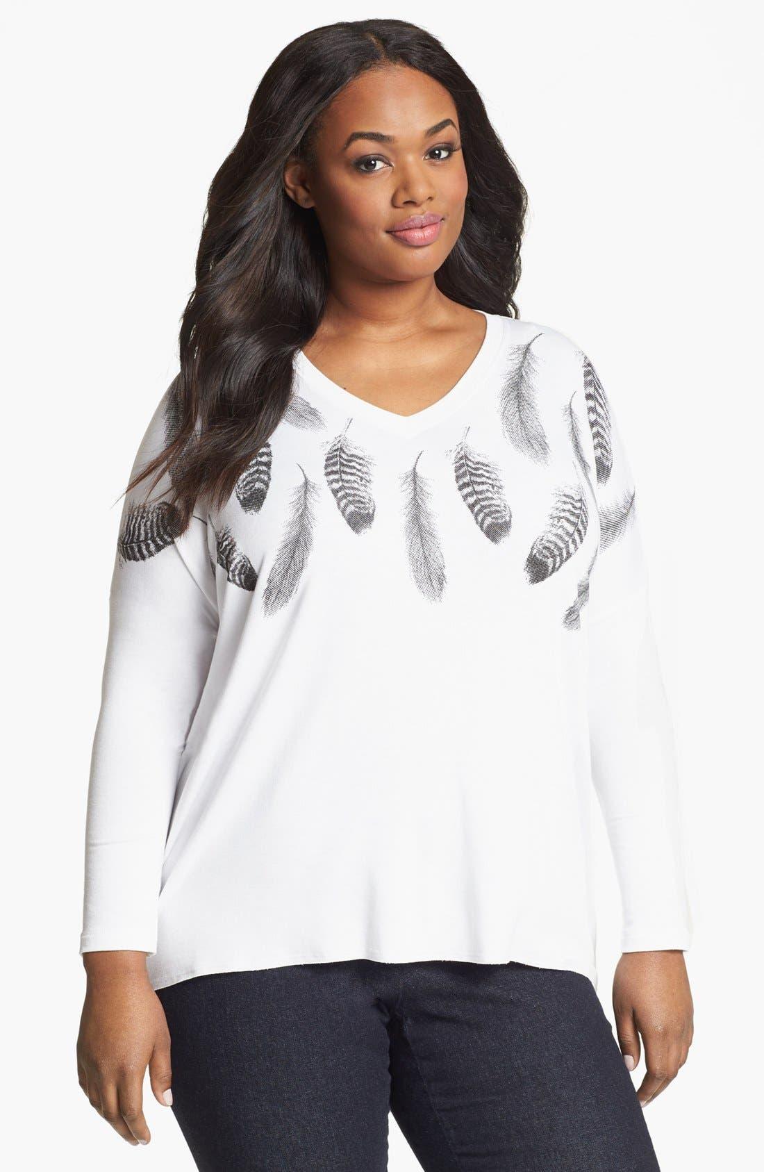 Alternate Image 1 Selected - Karen Kane Print Shirt (Plus Size)